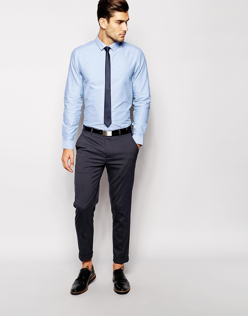 Asos Oxford Shirt And Textured Tie Set Save 21 In Blue