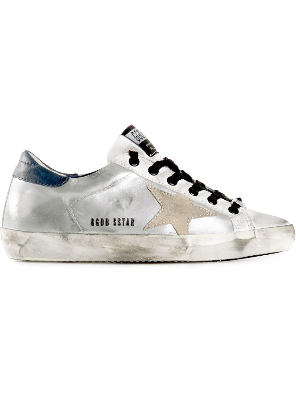 Golden Goose Deluxe Brand Super Star Leather Sneakers in Metallic