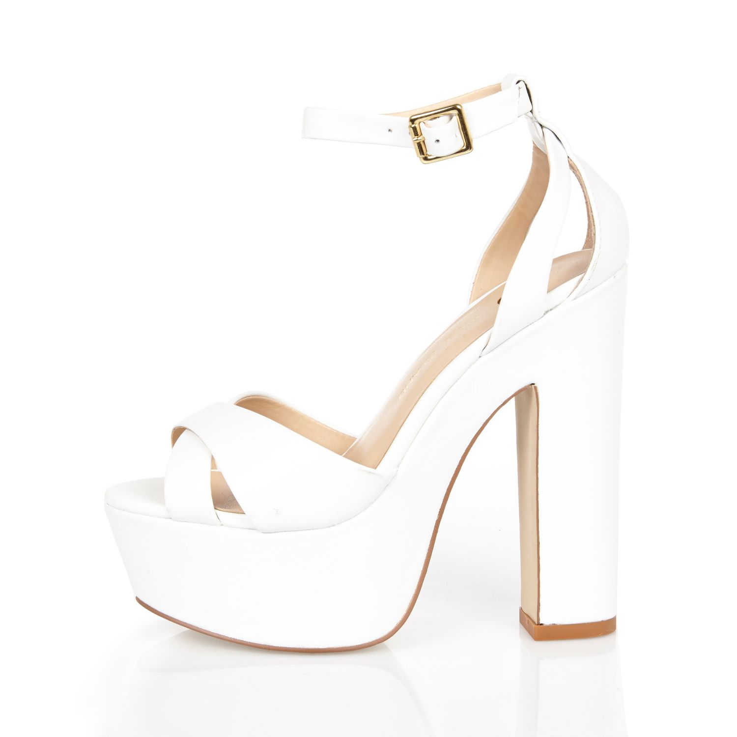 29dcbef9f8a6 River Island White Leather Chunky Block Platform Heels in White - Lyst