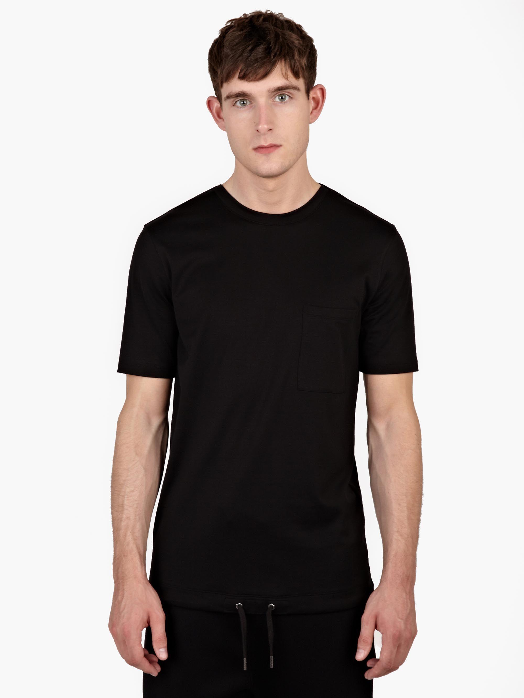 Helmut lang black drawstring hem t shirt in black for men for Helmut lang tee shirts