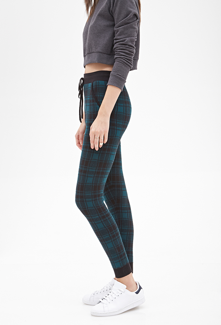 Forever 21 Plaid Print Joggers In Blue | Lyst
