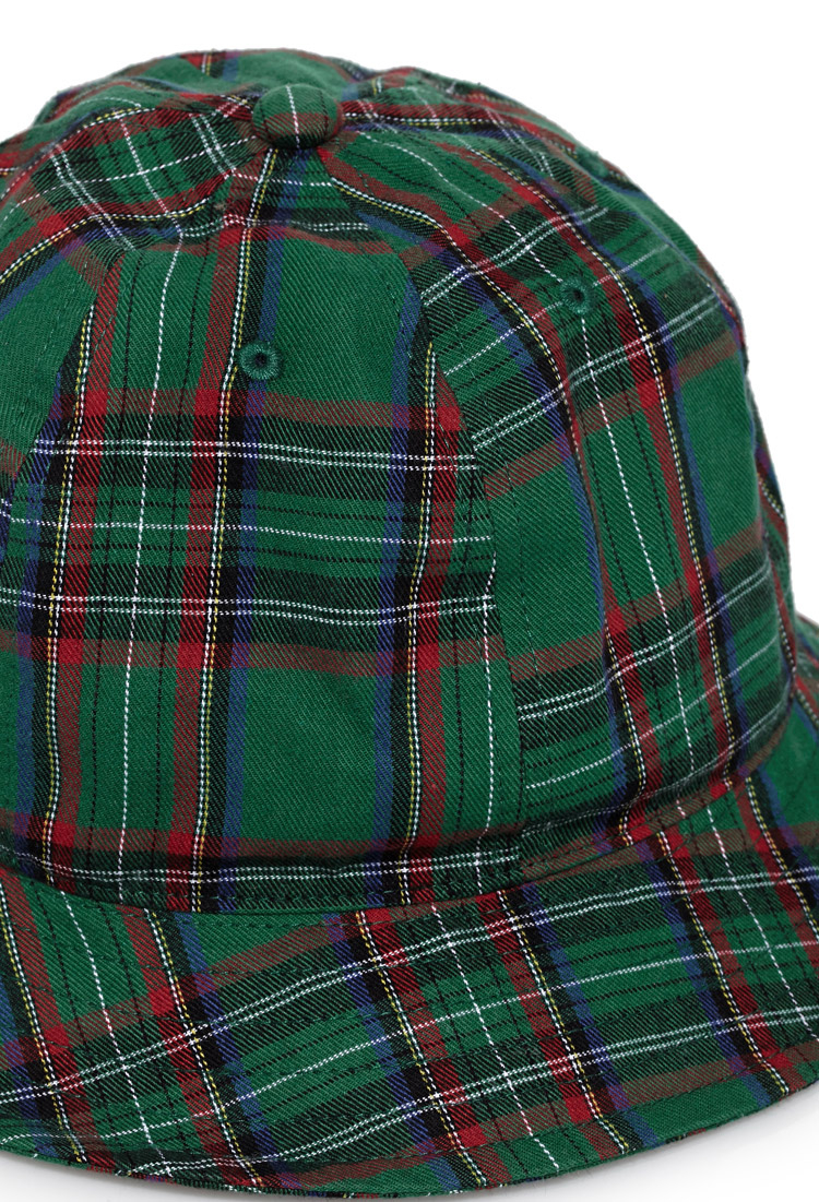Forever 21 Cotton Rounded Plaid Bucket Hat In Green For
