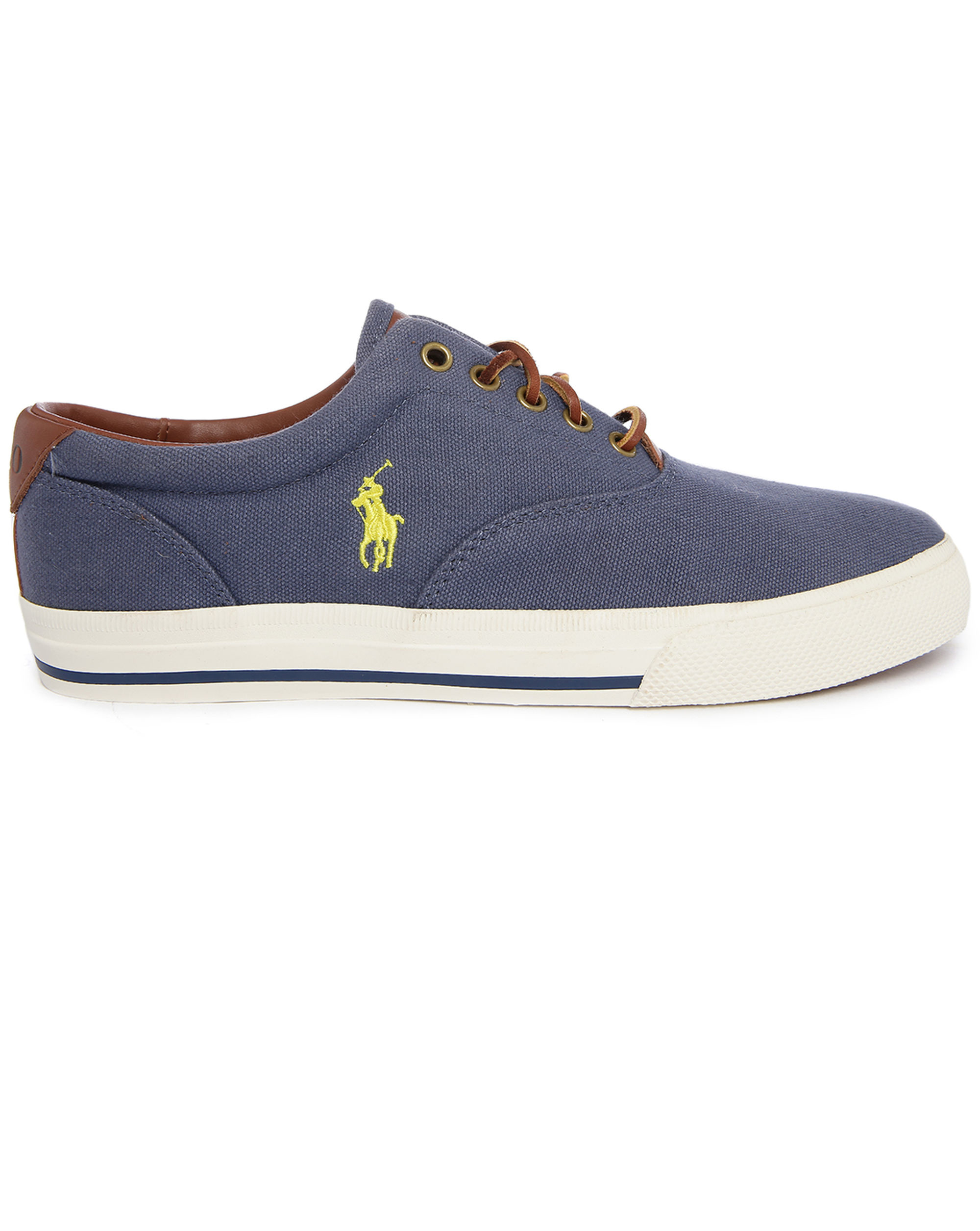 polo ralph vaughn blue canvas sneakers in blue for