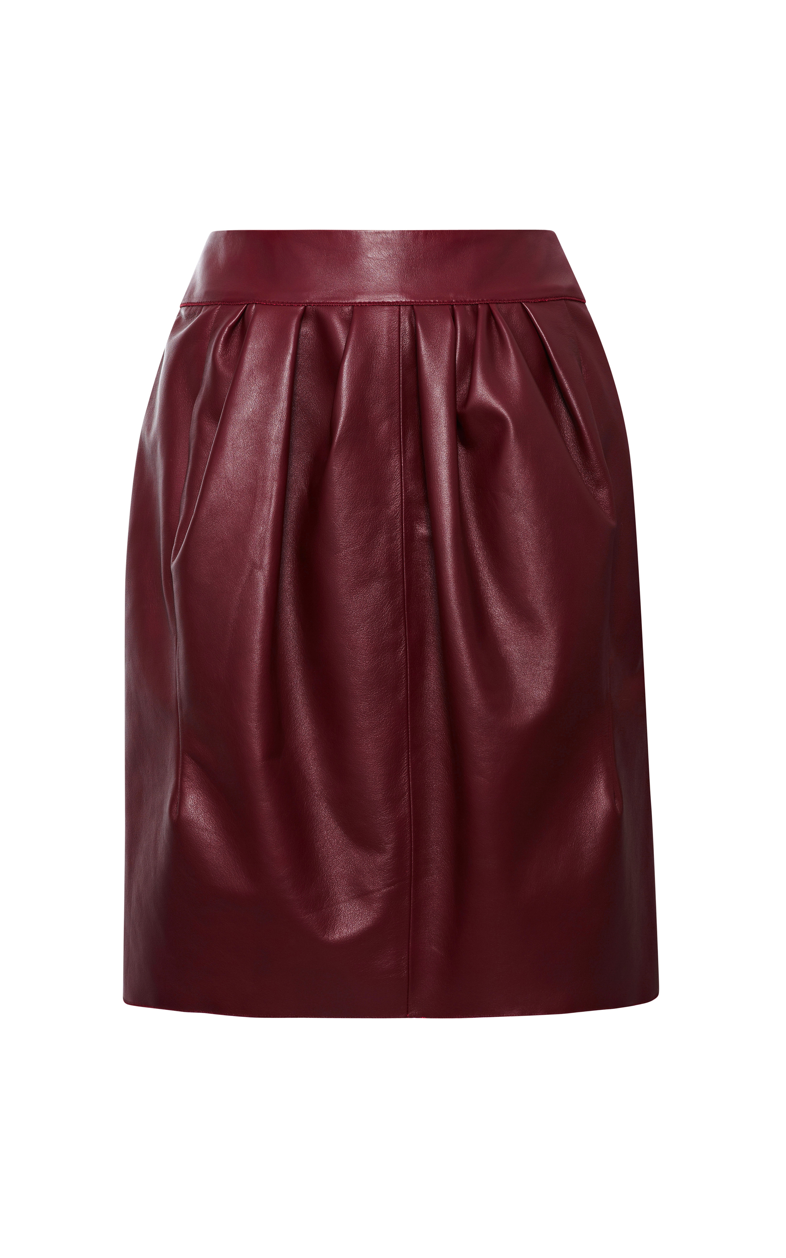 ricci leather skirt in bordeaux fonce lyst