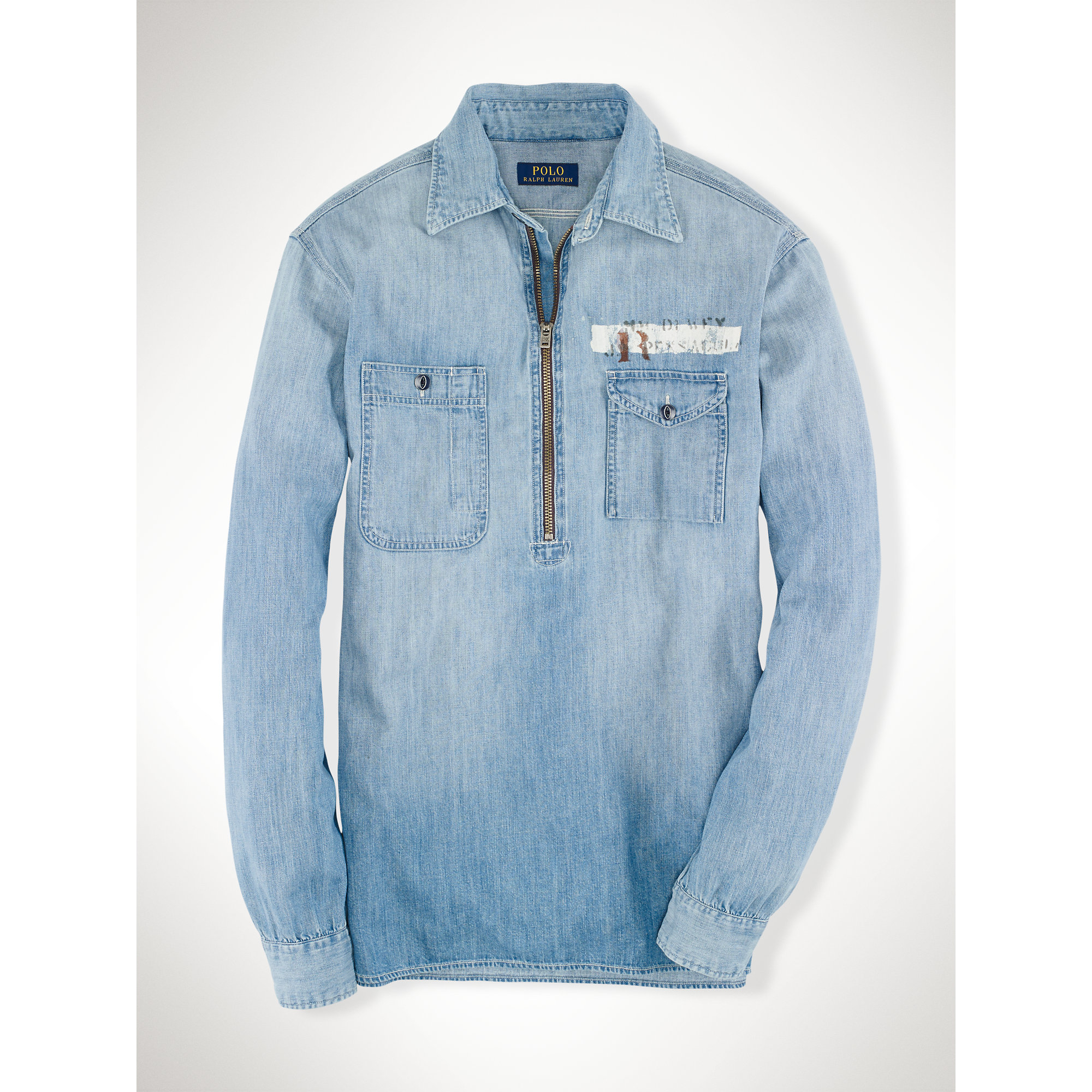polo ralph lauren denim pullover shirt in blue for men indigo denim. Black Bedroom Furniture Sets. Home Design Ideas