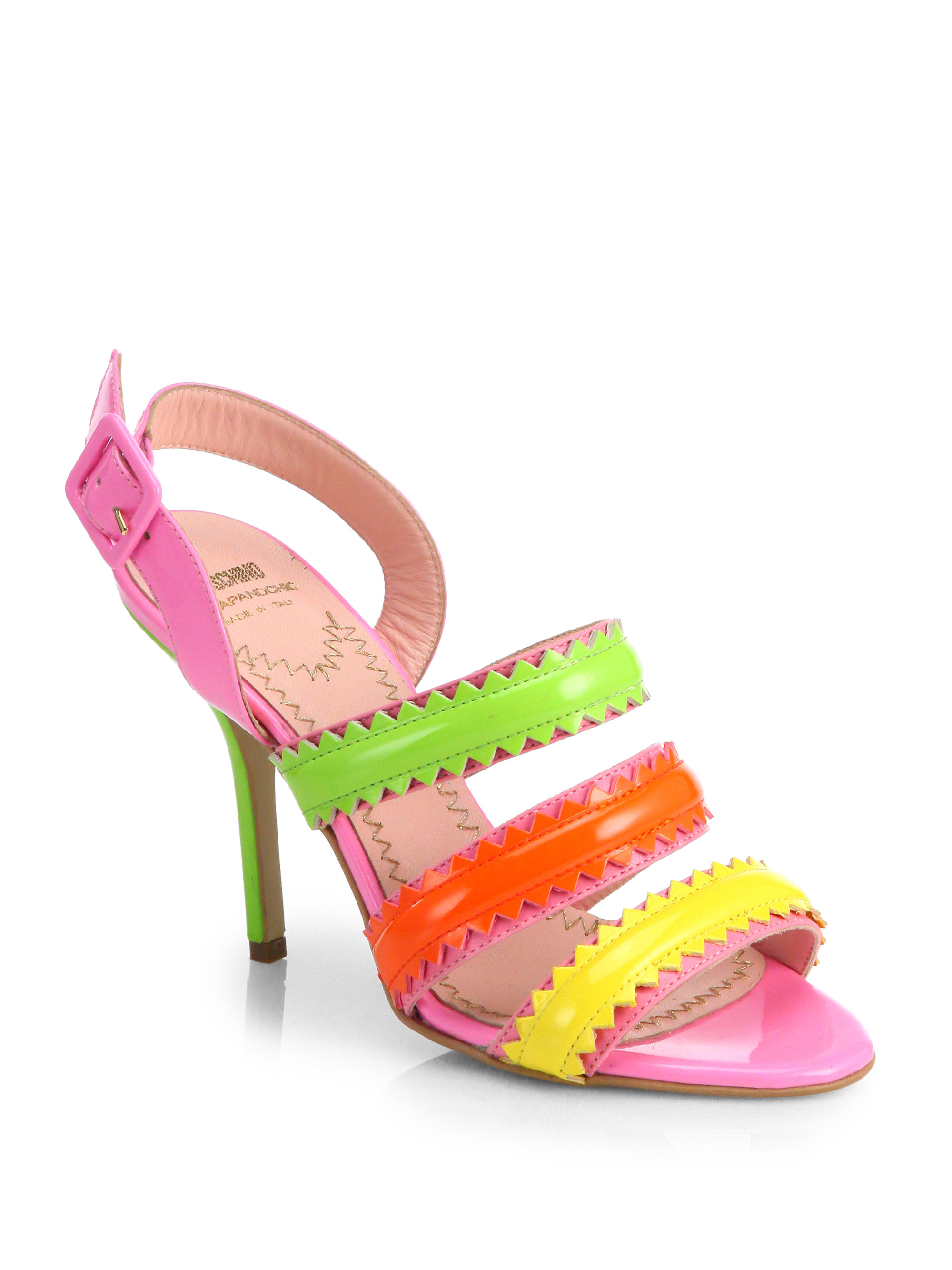 Lyst Boutique Moschino Zigzag Striped Leather Sandals