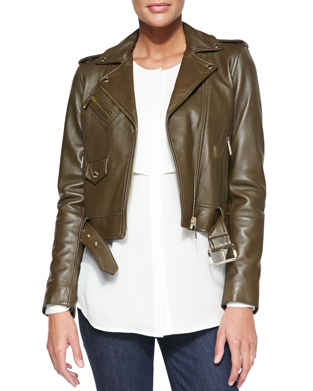 michael michael kors cropped leather moto jacket in khaki. Black Bedroom Furniture Sets. Home Design Ideas