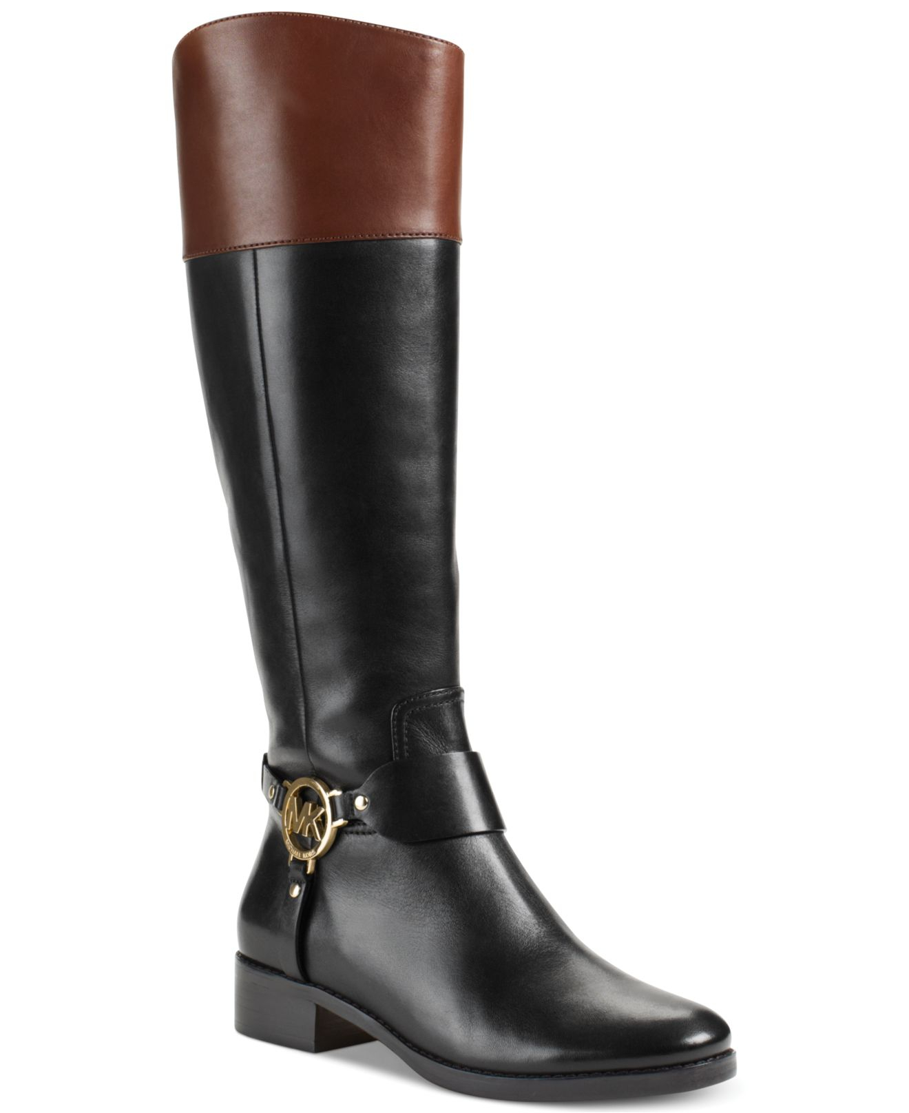 michael kors michael fulton harness wide calf boots in