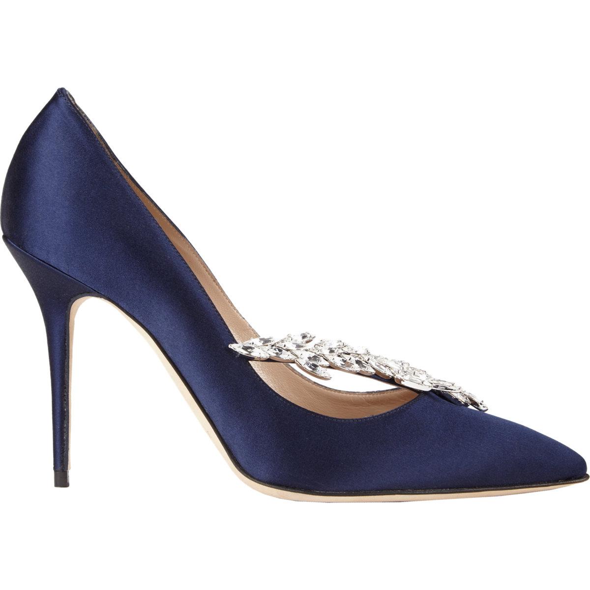 c43035f8747d2 Manolo Blahnik Nadira Jeweled Pumps in Blue - Lyst