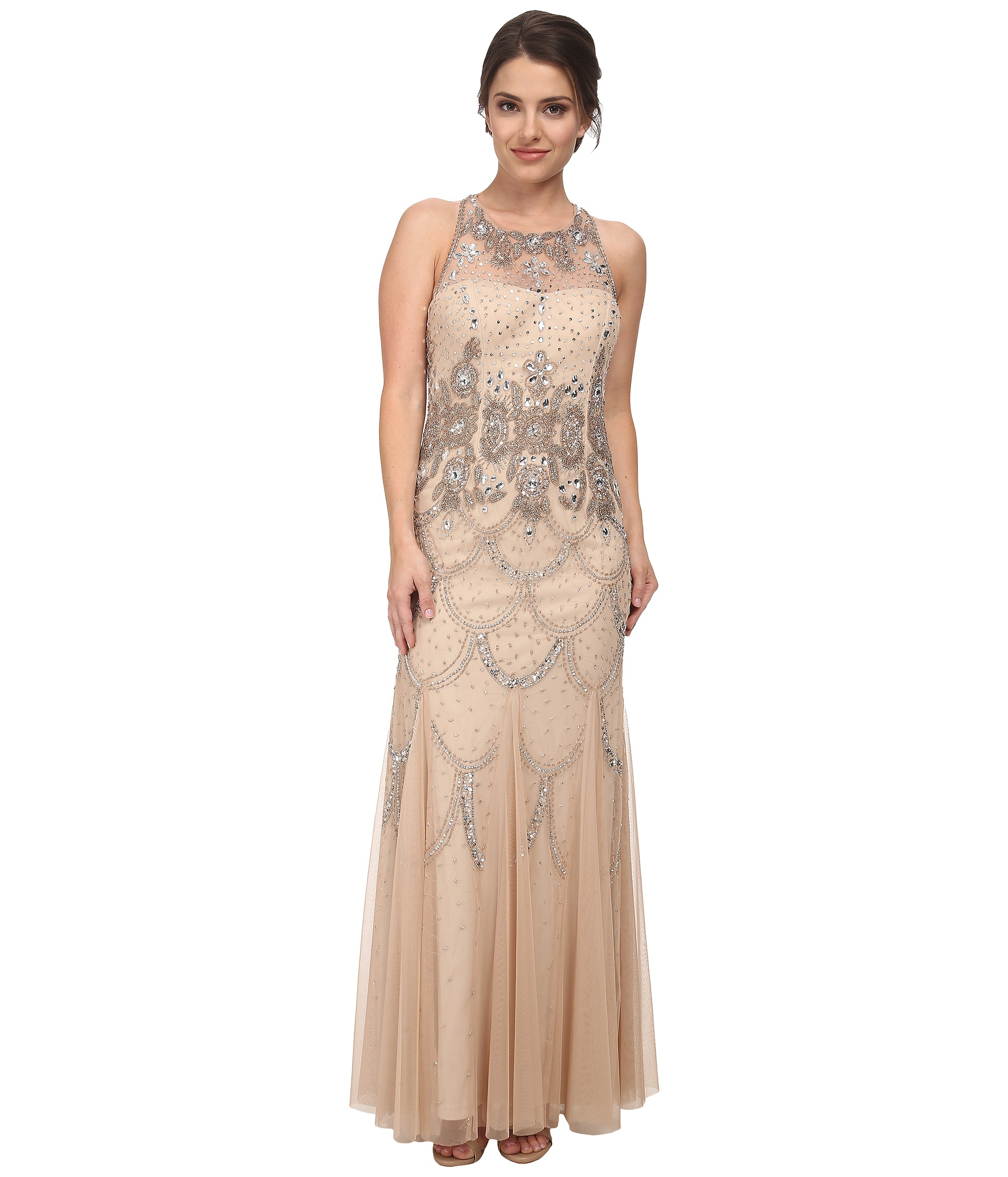 a2b130b658b0 Adrianna Papell Halter Fully Beaded Gown in Metallic - Lyst