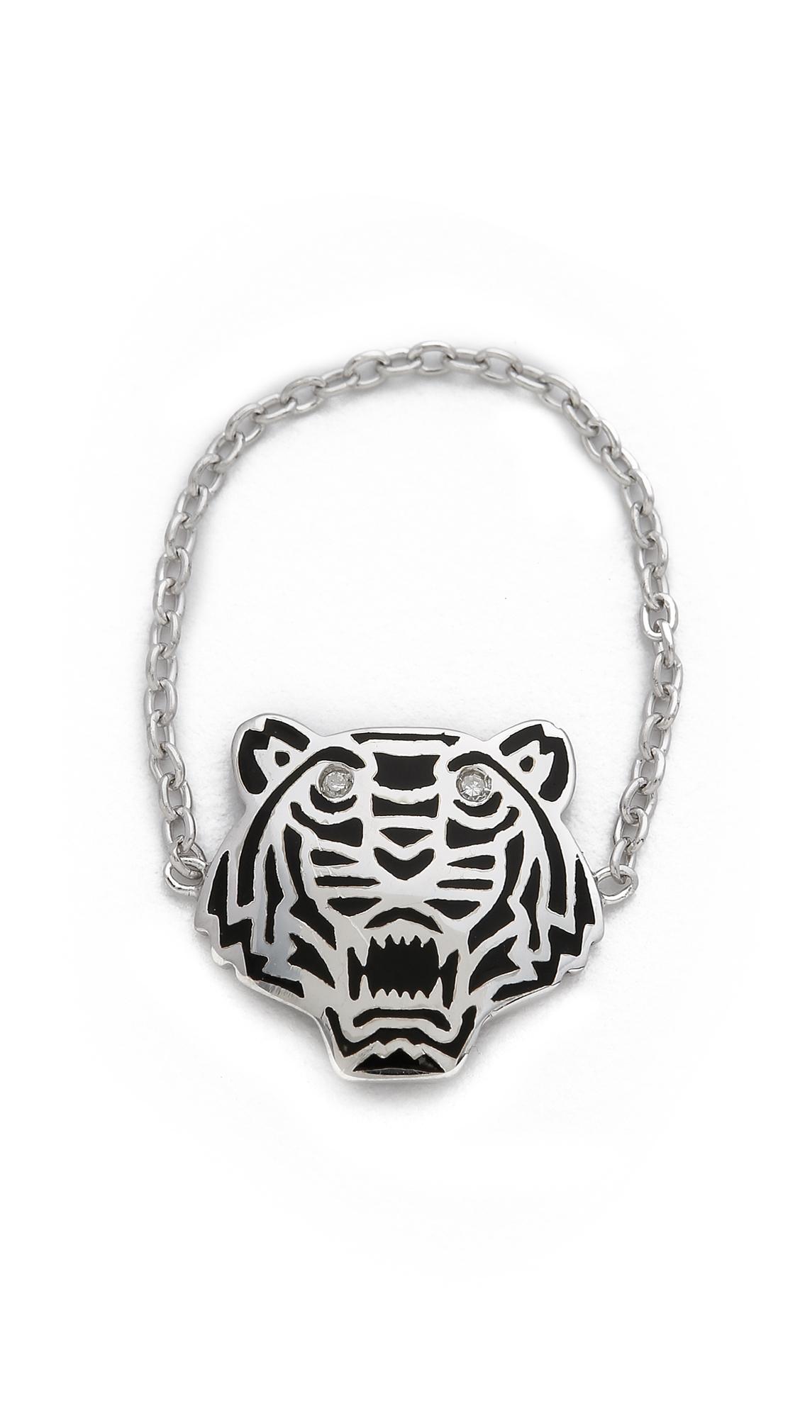 kenzo mini tiger ring silver in metallic lyst