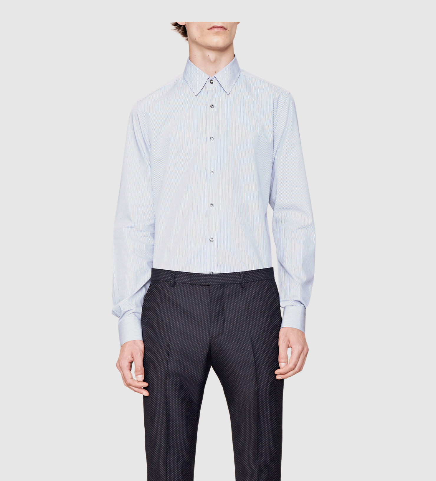 Gucci striped classic shirt in blue for men lyst for Gucci t shirts online india