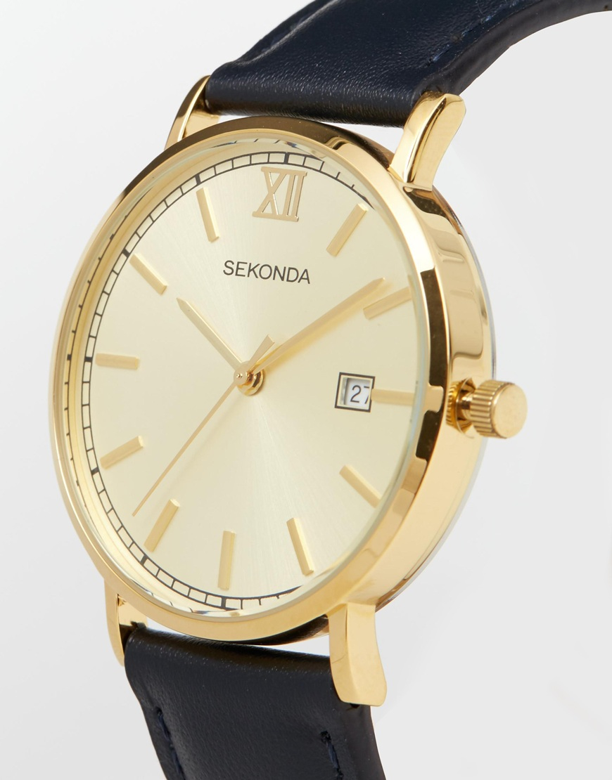 Lyst sekonda gold face black leather strap watch in black for men for Black leather strap men