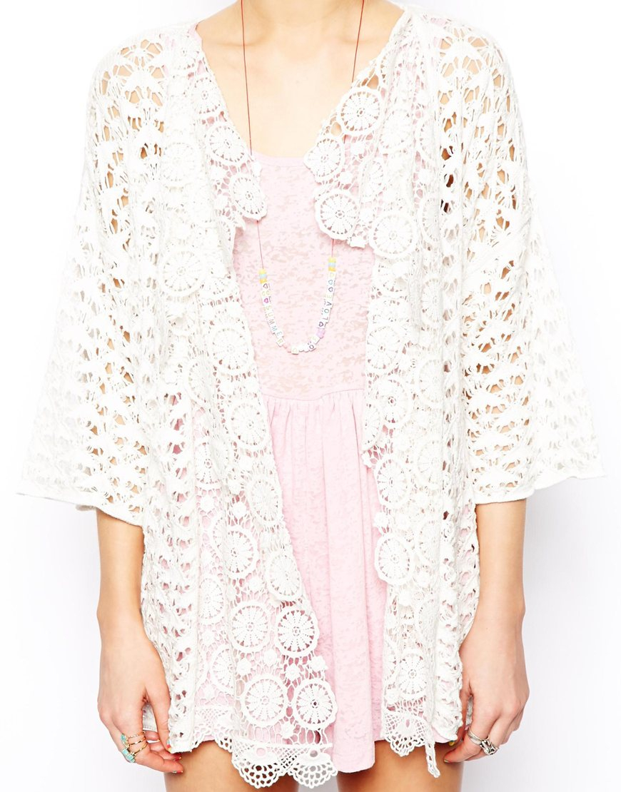 Asos Waterfall Cardigan In Crochet In White Lyst