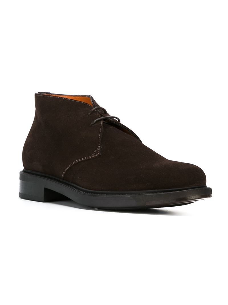 santoni classic desert boots in brown for lyst