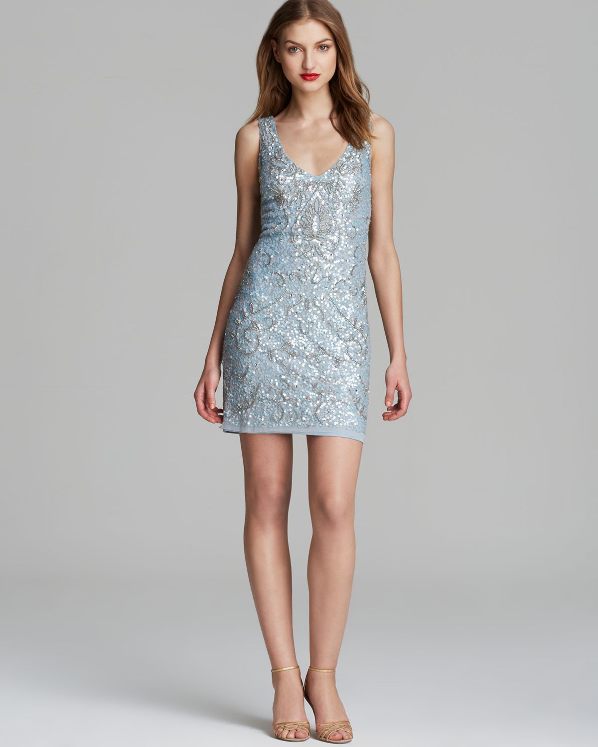 Aidan mattox Dress - Double V Neck Sequin in Blue | Lyst