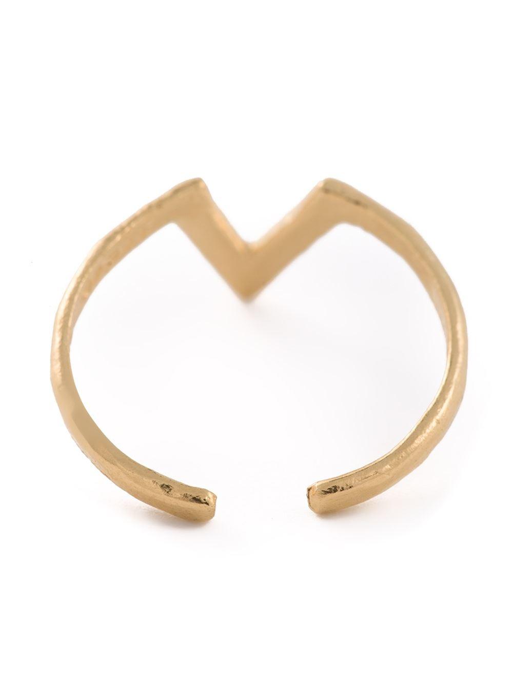 bjorg v alphabet ring in metallic lyst