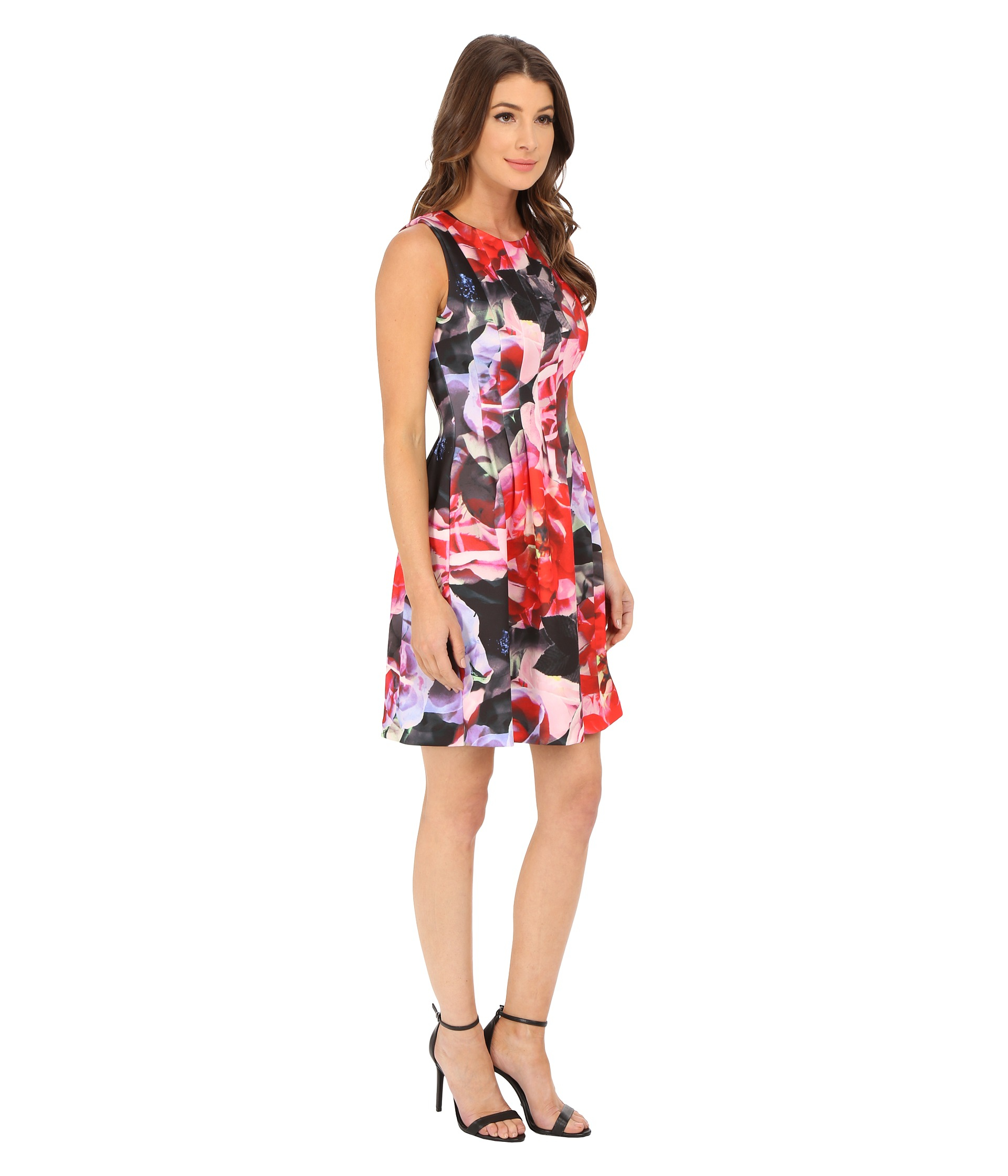 Vince Camuto Sleevless Release Pleat Scuba Fit And Flare