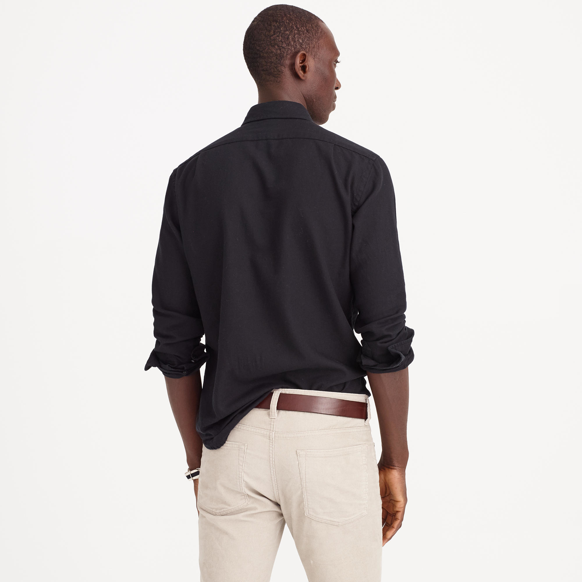 Slim Brushed Twill Shirt In Black For Men Lyst