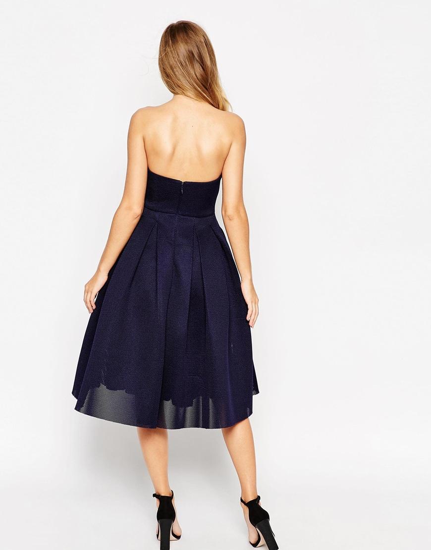 Lyst Asos Super Full Mesh Bandeau Midi Prom Dress In Blue