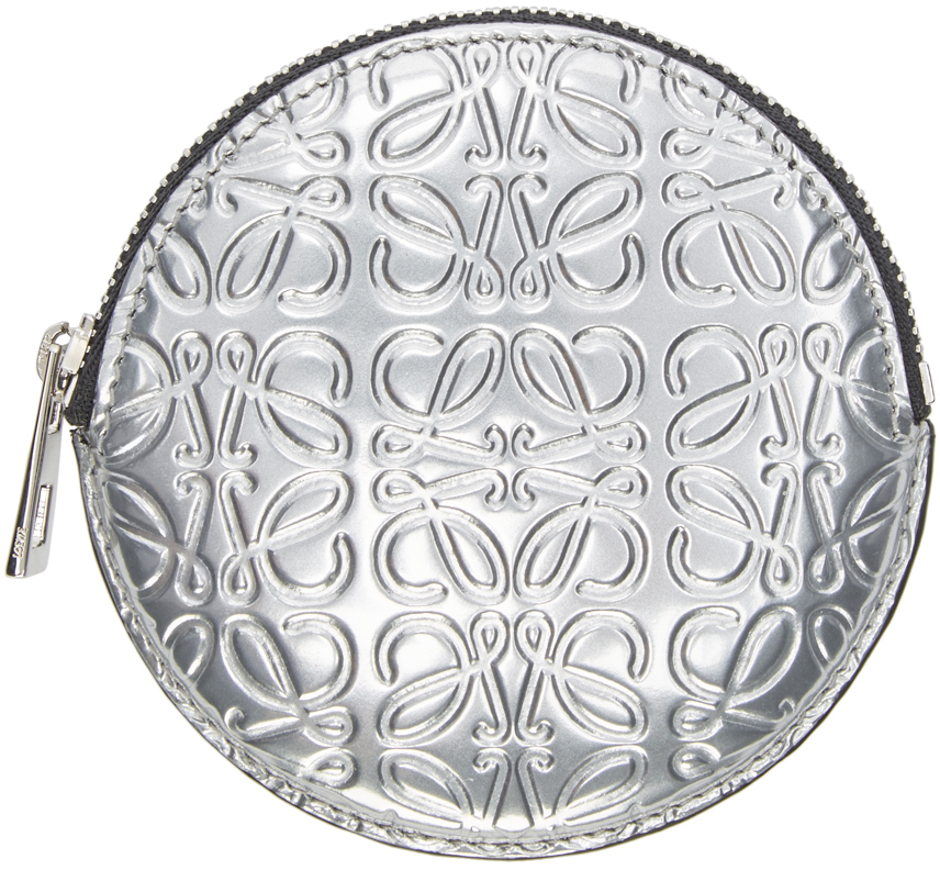Lyst Loewe Silver Leather Embossed Coin Pouch In Metallic