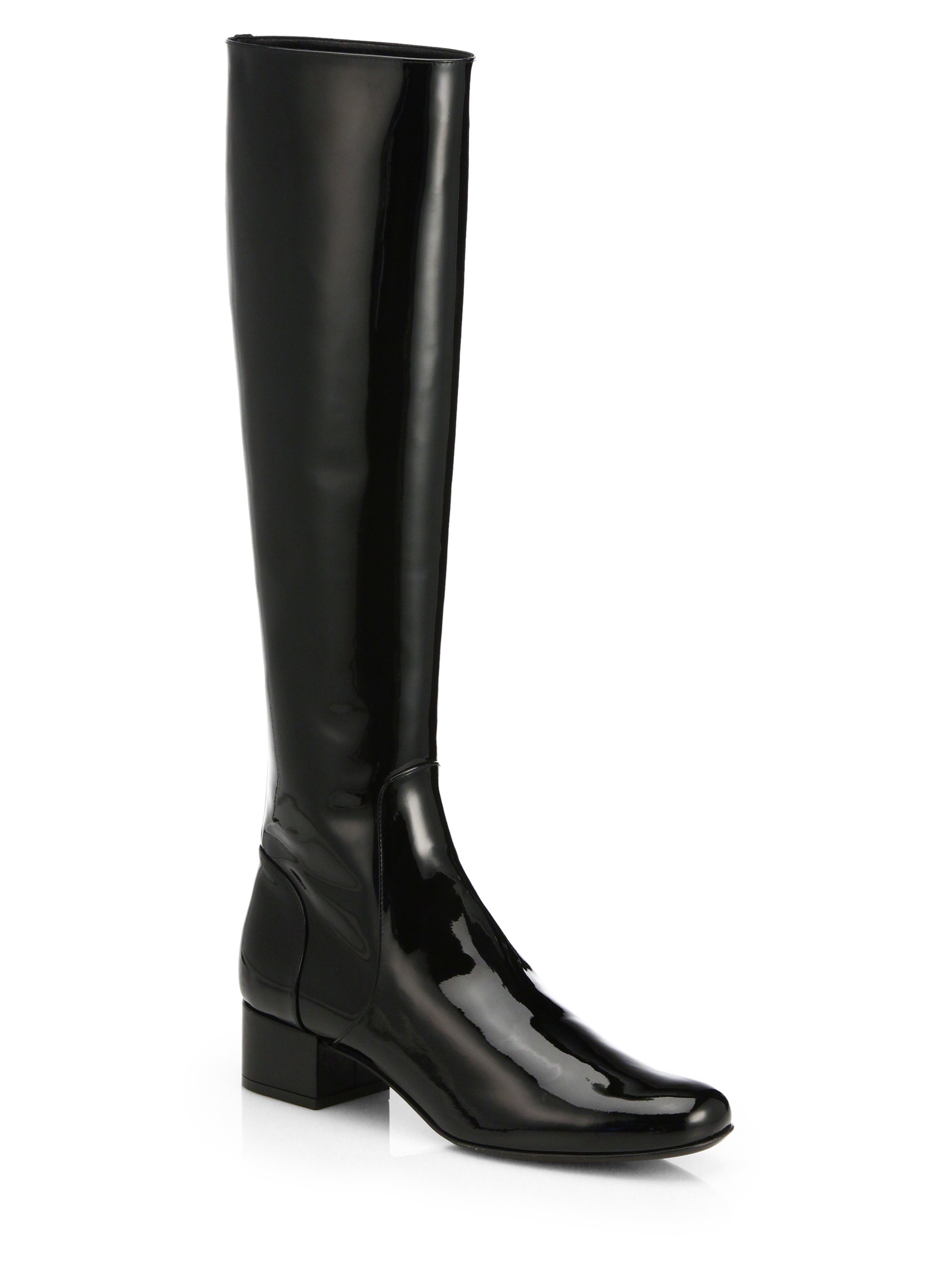 laurent patent leather kneehigh boots in black nero