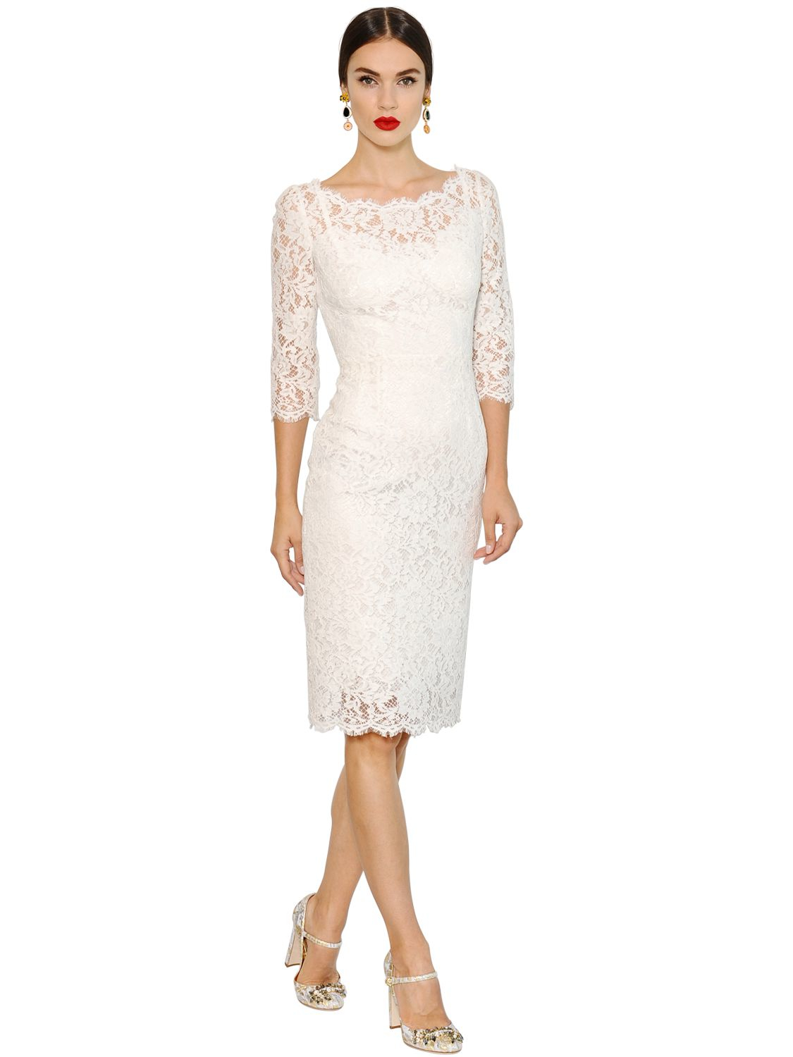 Dolce &amp- gabbana Cordonetto Lace Dress in White - Lyst