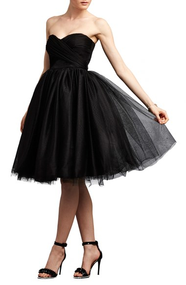 9553b14ed Donna Morgan Strapless Mesh and Tulle Dress in Black - Lyst