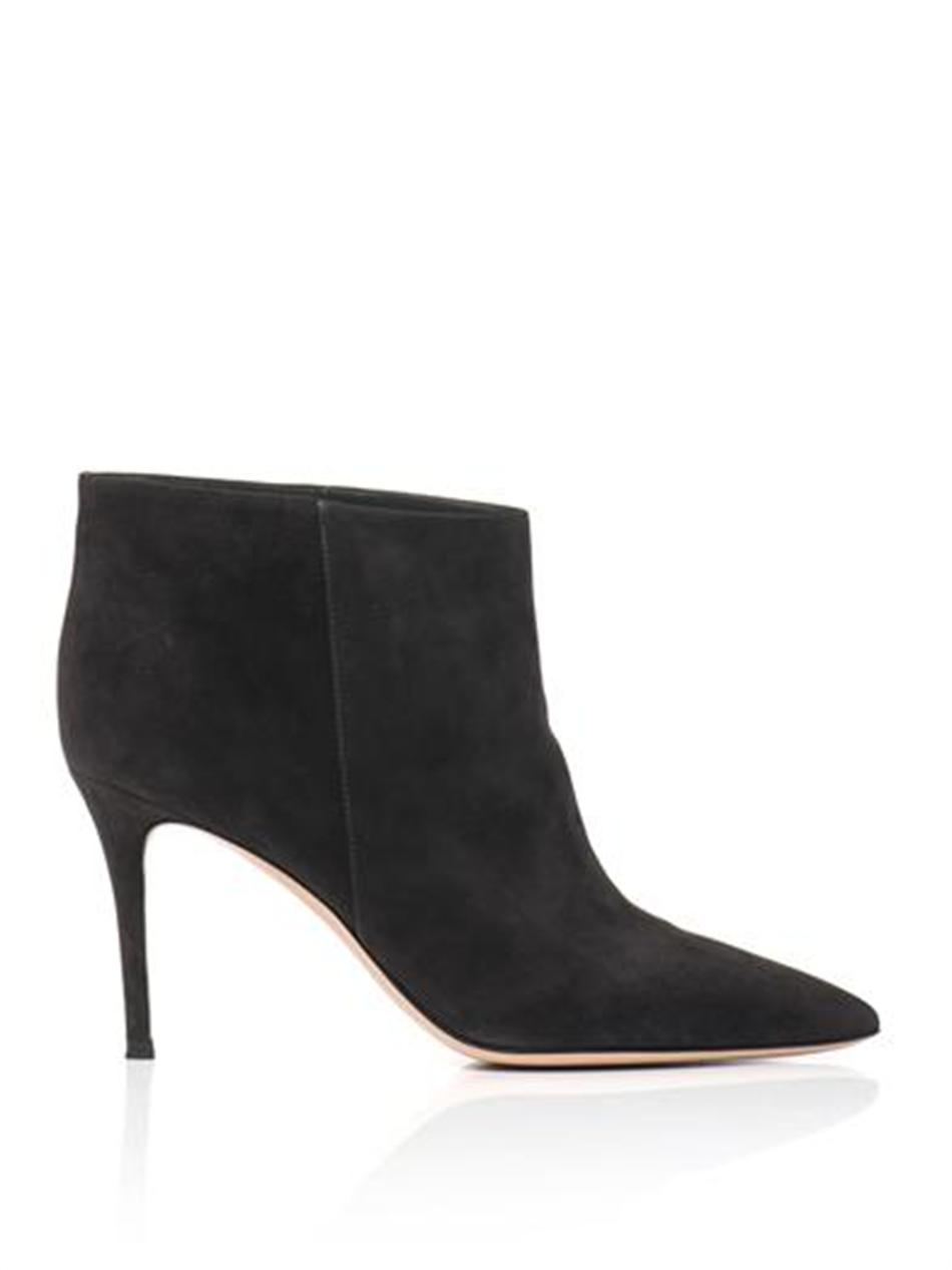 gianvito rossi stilo suede ankle boots in gray grey lyst. Black Bedroom Furniture Sets. Home Design Ideas