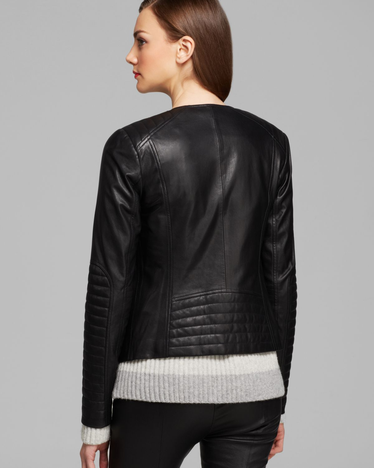 Lyst Vince Jacket Quilted Leather Moto In Black