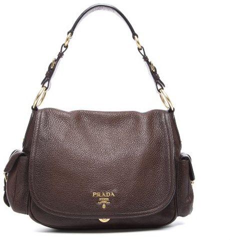 Prada Preowned Brown Vitello Daino Leather Side Pocket