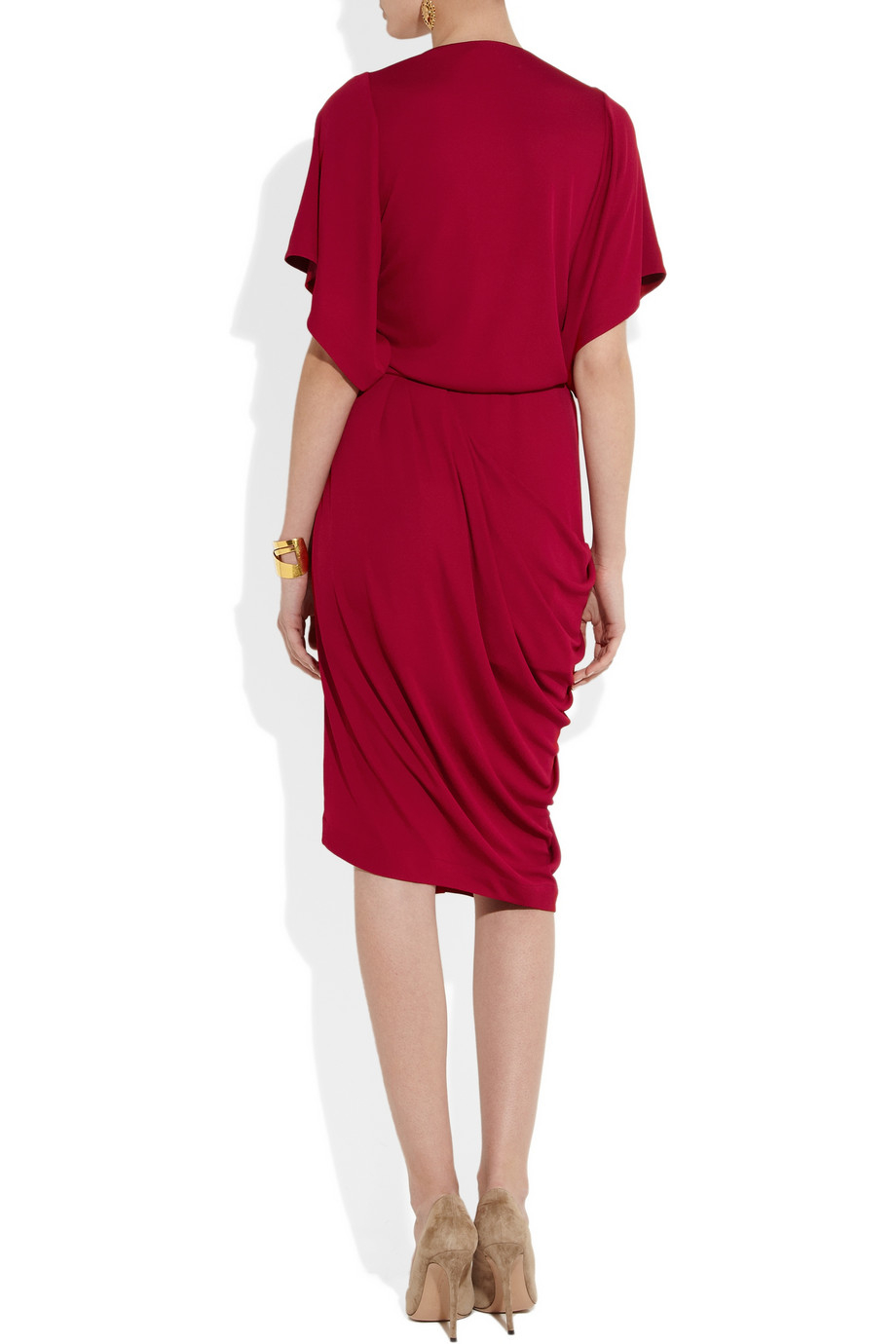 Vionnet Crepe Wrap Effect Dress In Red Lyst