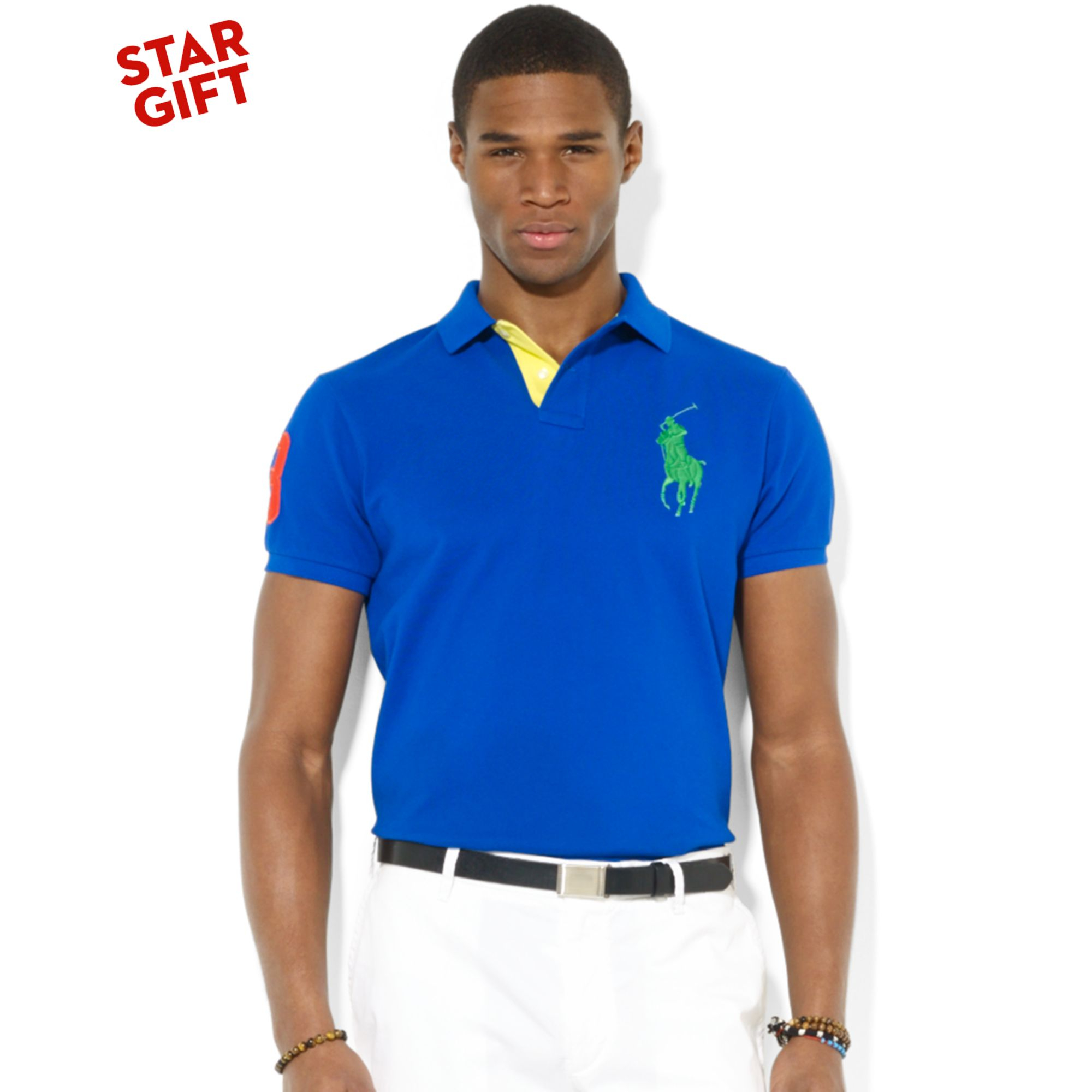 Ralph Lauren Polo Royal Blue Custom Slim Fit Big Pony Shirt New $98