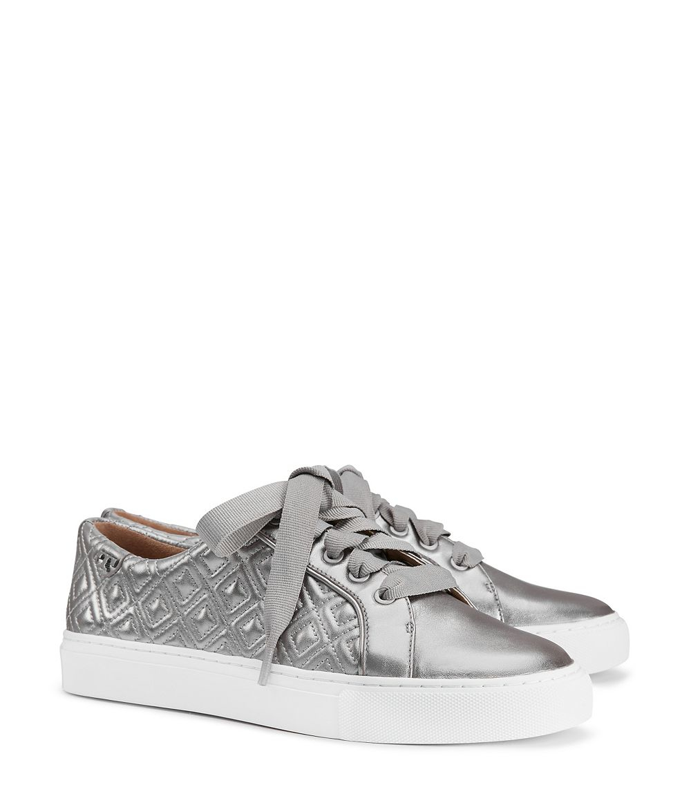Tory Burch Leather Marion Quilted Metallic Sneaker Lyst