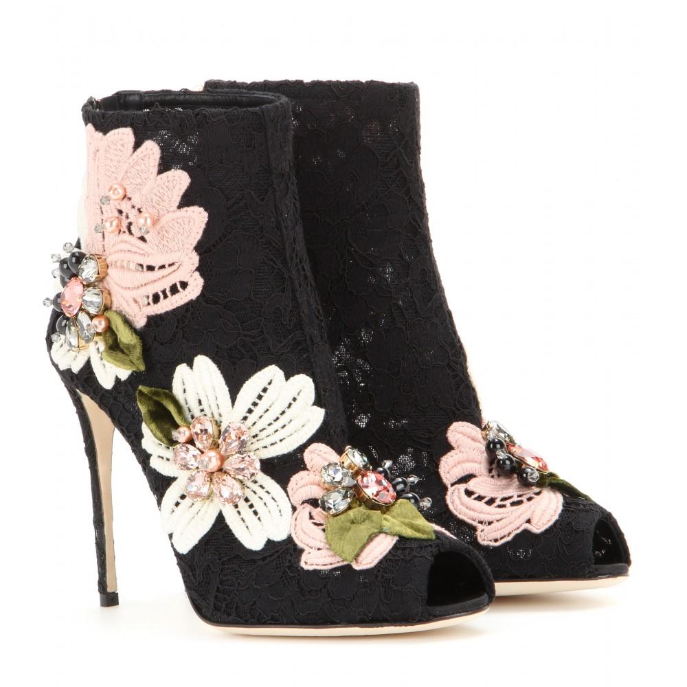 Black Peep Toe Shoe Embellished
