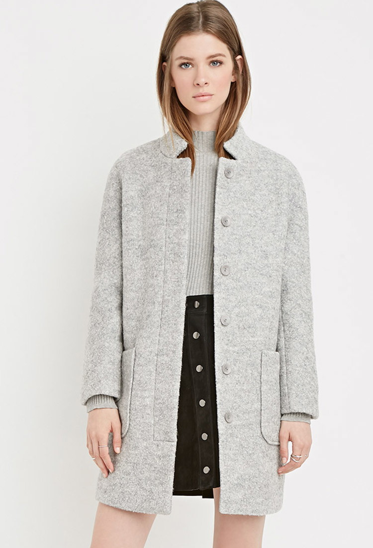 Forever 21 Boucle Car Coat in Gray | Lyst