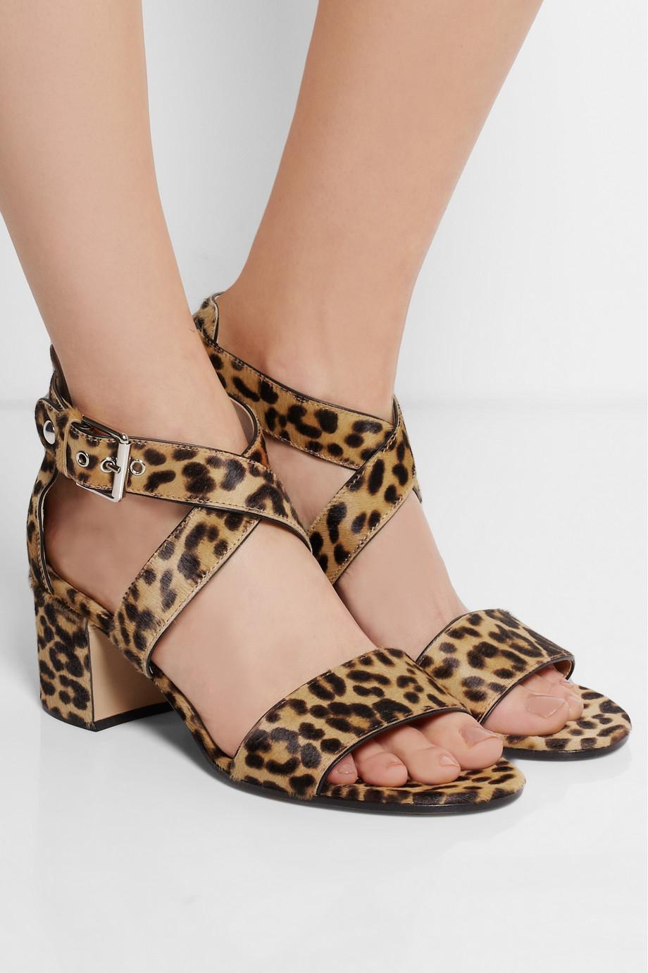 Gianvito Rossi Leopard Print Calf Hair Sandals Lyst