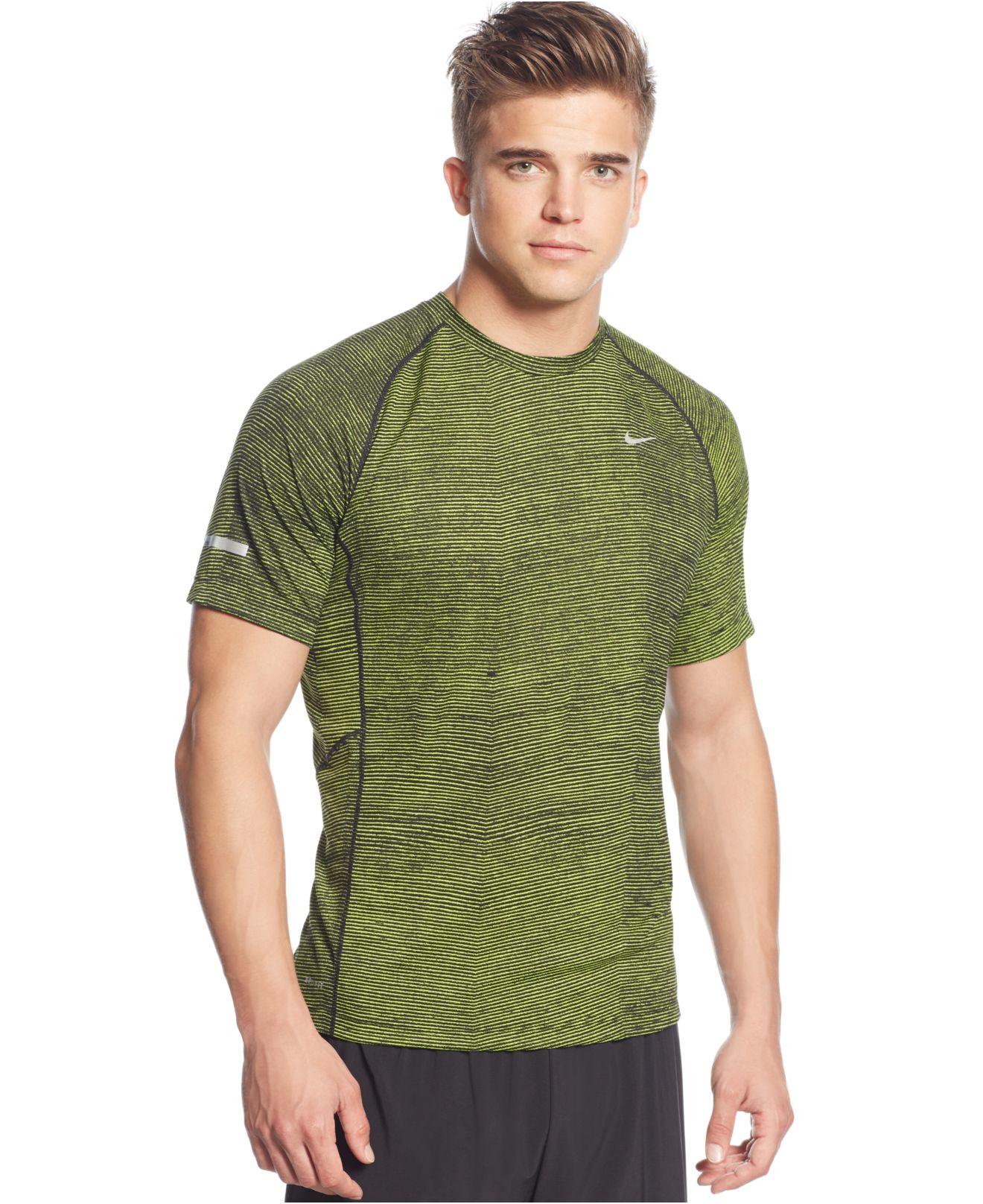 Nike Miler Printed Dri Fit T Shirt In Green For Men Lyst