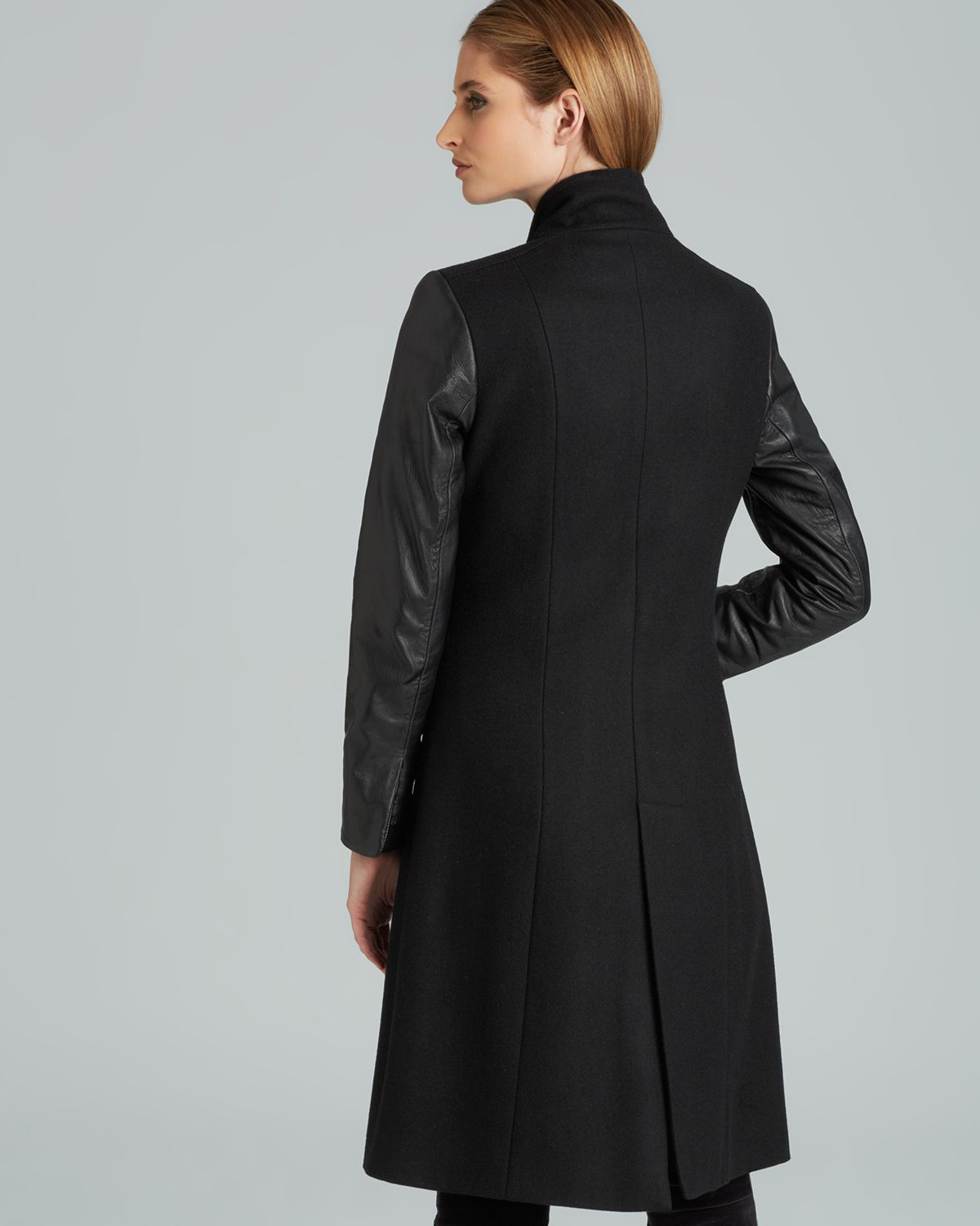Adrianna papell Long Fitted Coat with Leather Trim in Black | Lyst