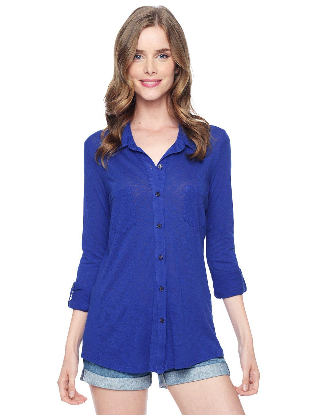 Splendid slub jersey knit shirt in blue cobalt blue lyst for What is a slub shirt
