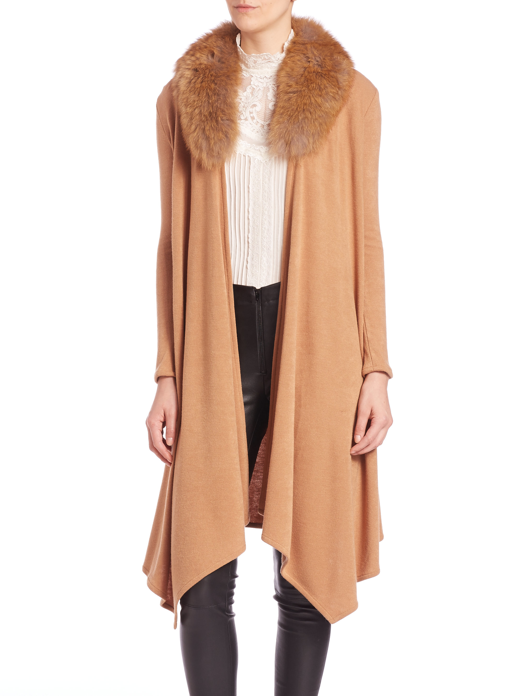 Alice   olivia Alka Fur-collar Long Cable-knit Cardigan in Brown ...