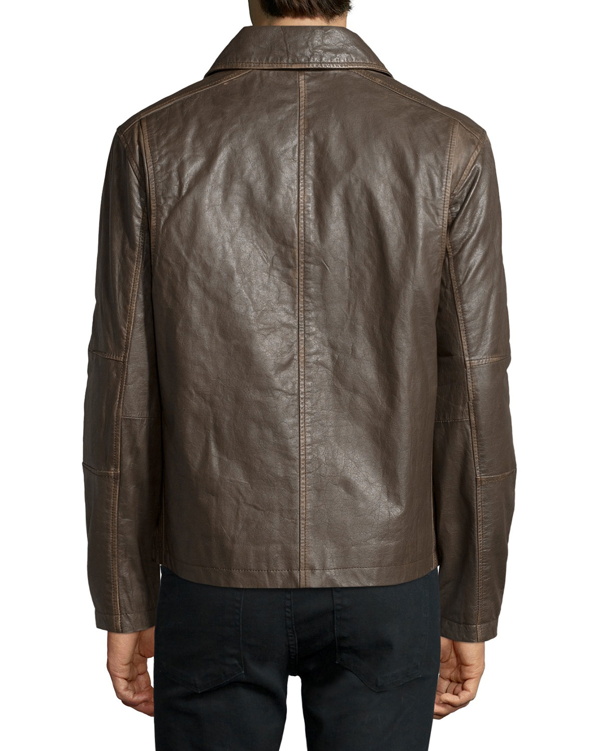Lyst Marc New York Romney Shirt Collar Leather Jacket In