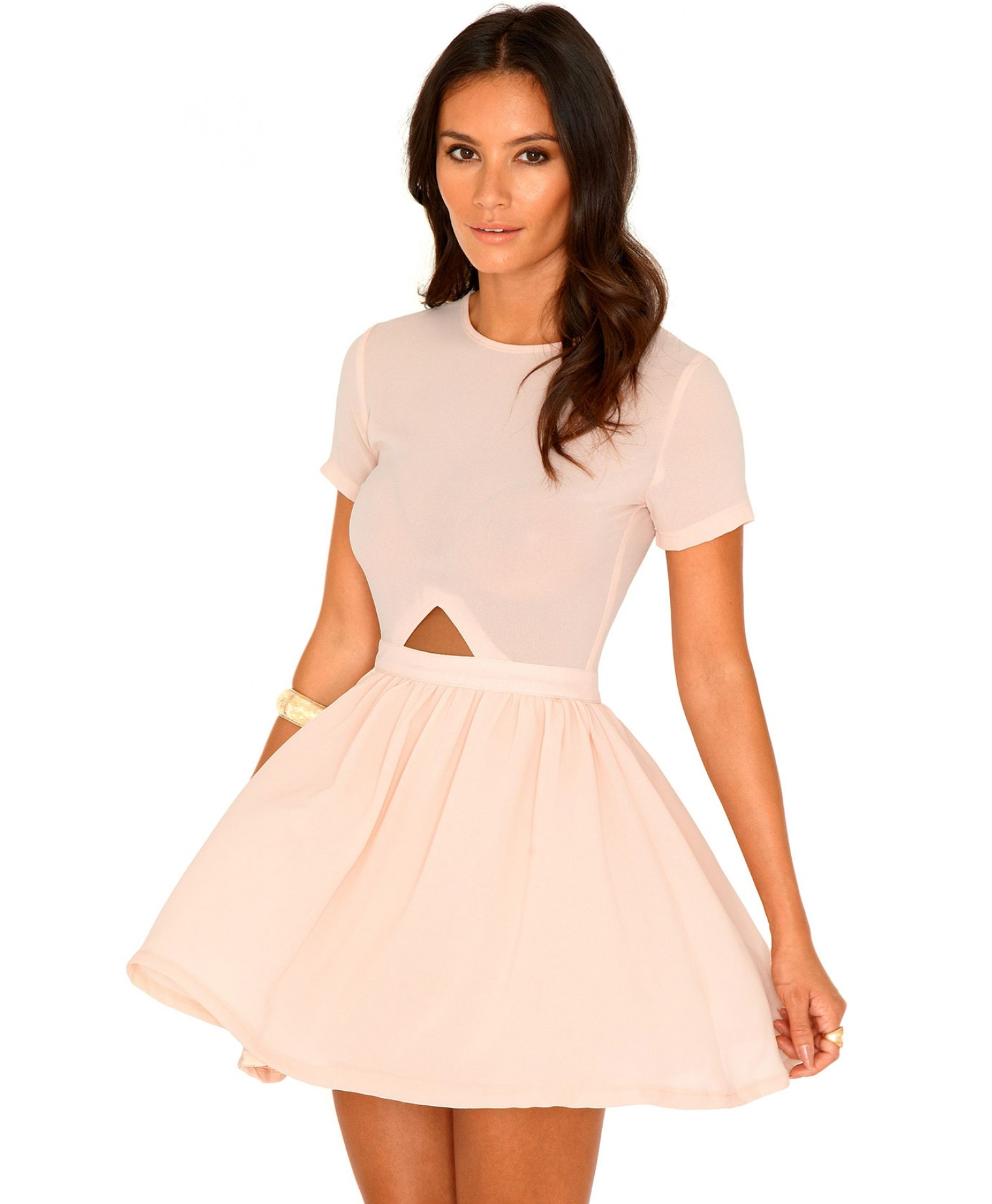 fd1c38f4111b Backless Dress Price $44.00 · Blush Pink Skater Dress: Missguided Nuria  Chiffon Cut Out Skater Dress In Blush In
