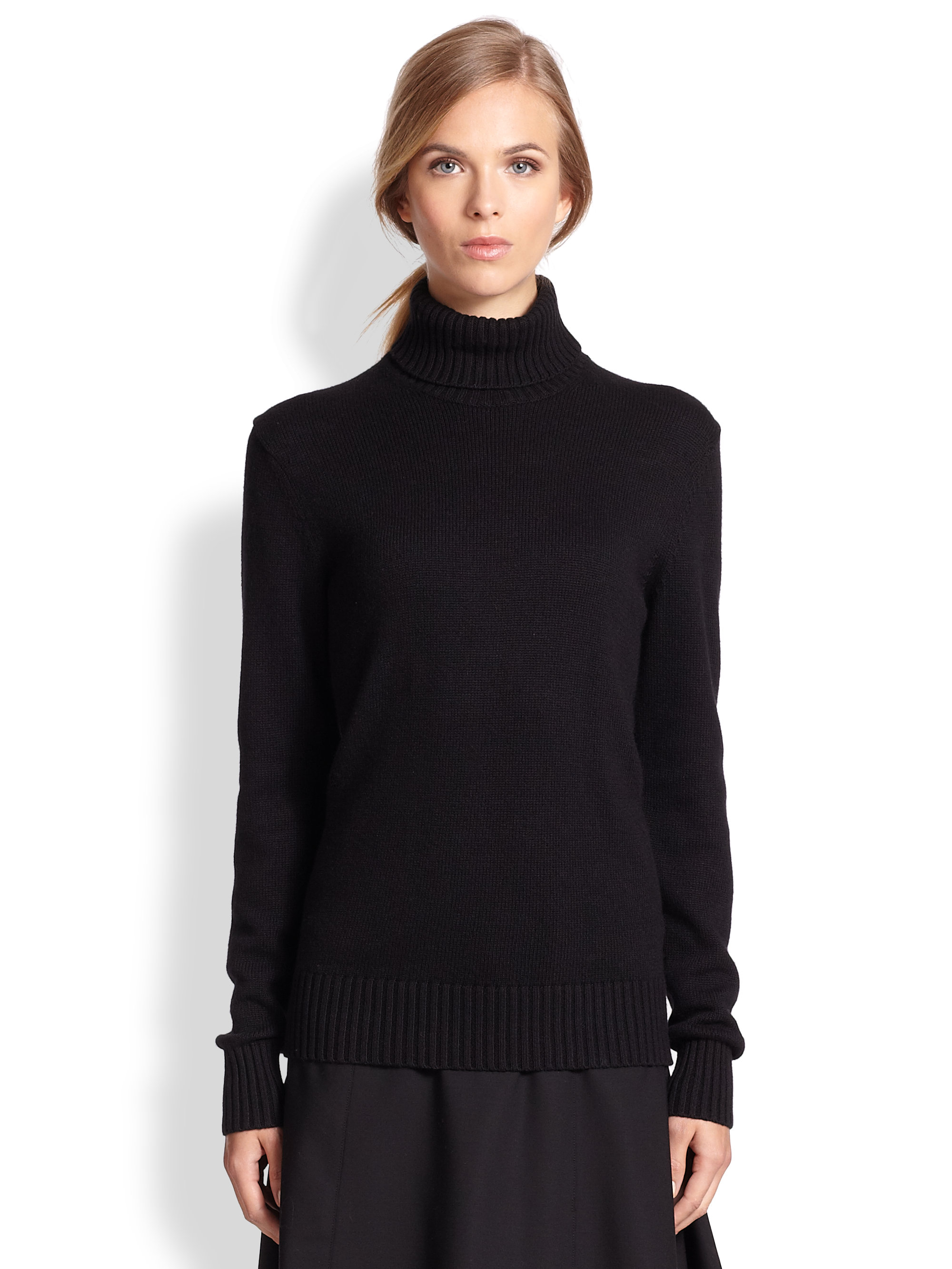 Michael kors Cotton Cashmere Turtleneck Sweater in Black | Lyst