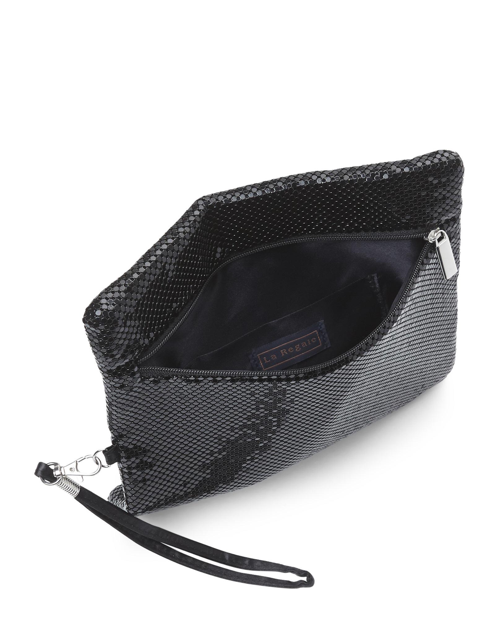 la regale black metal mesh fold over clutch in black lyst. Black Bedroom Furniture Sets. Home Design Ideas