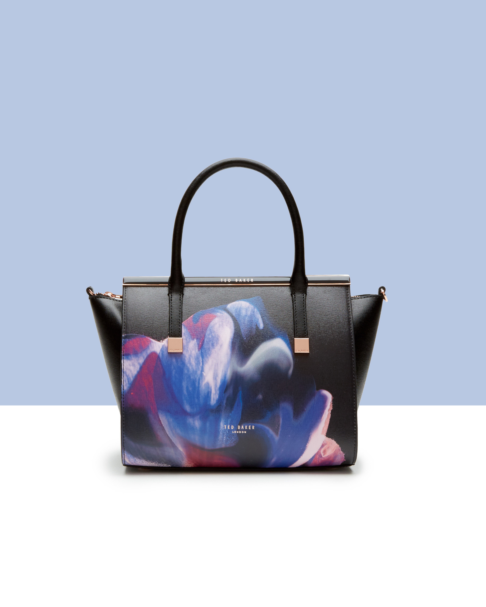 f59f9f9a3d7 Ted Baker Cosmic Bloom Leather Tote Bag in Black - Lyst