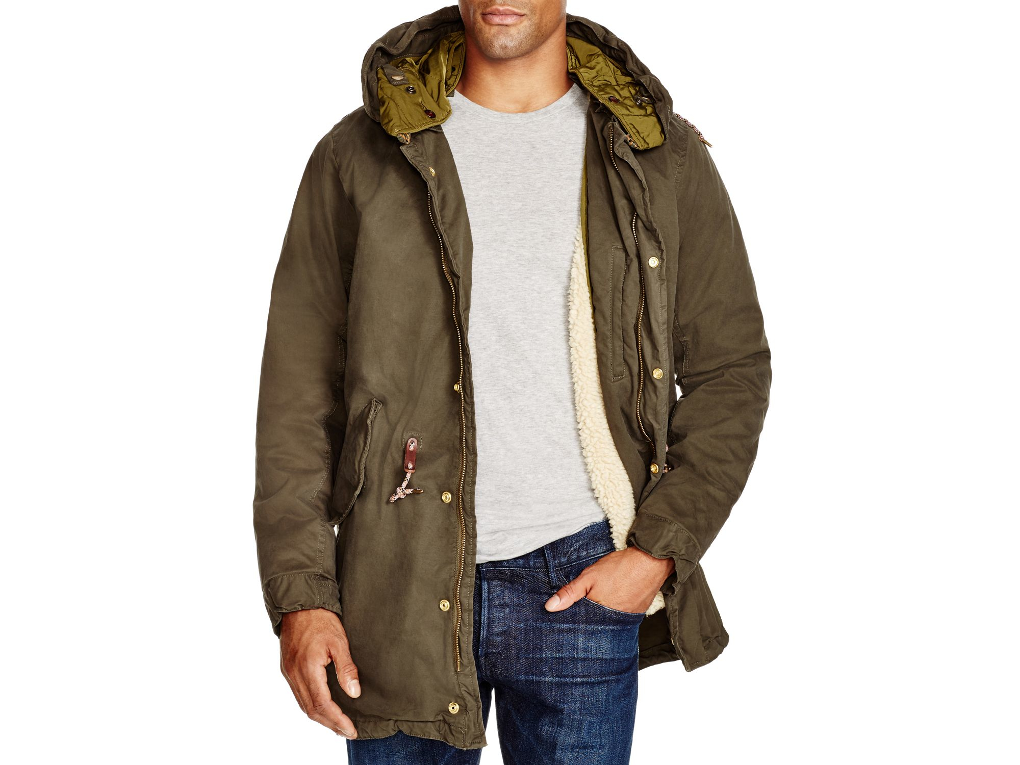 scotch soda classic hooded zip parka in green racing. Black Bedroom Furniture Sets. Home Design Ideas