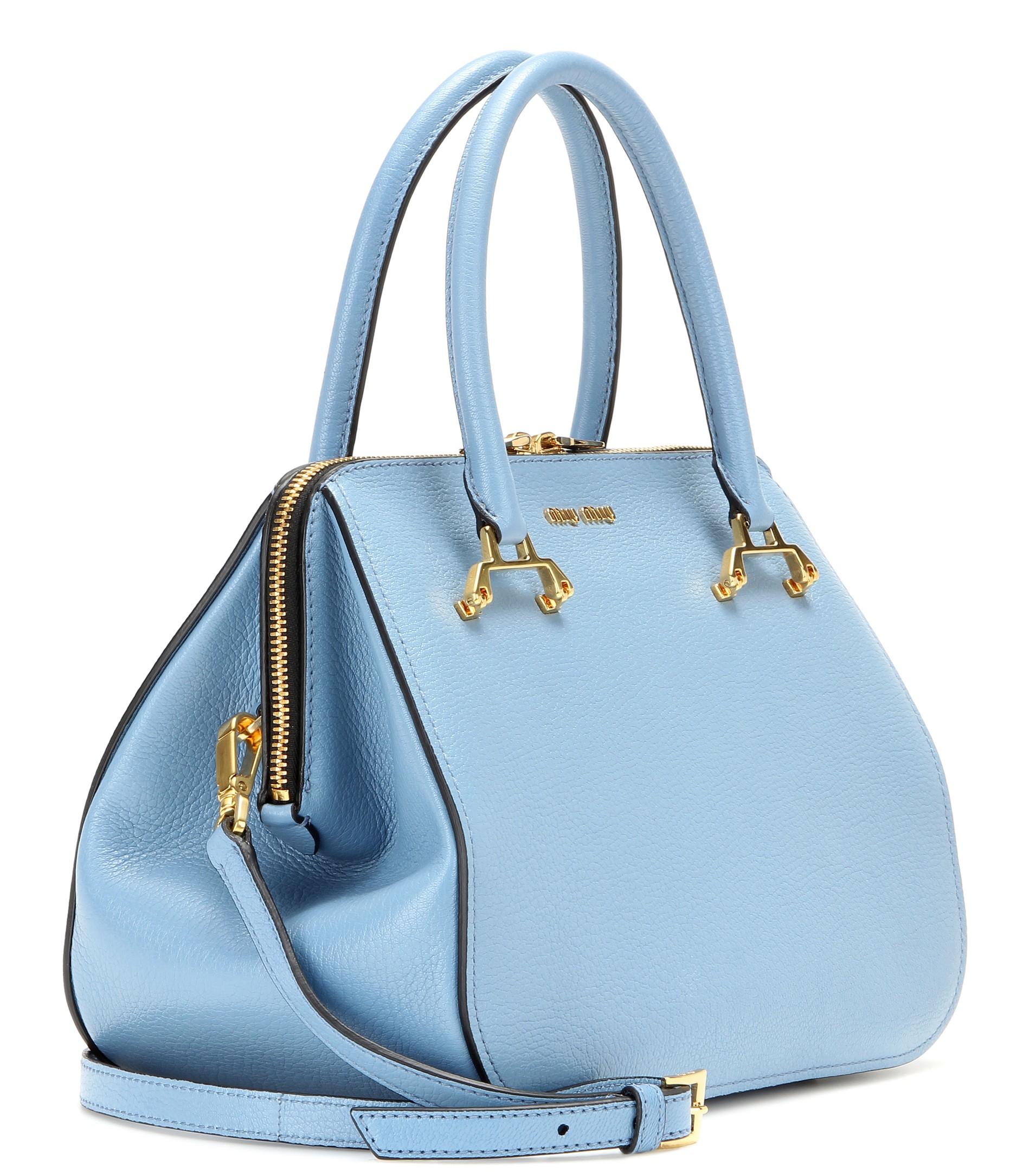 Miu Leather Shoulder Bag In Blue Astrale Lyst