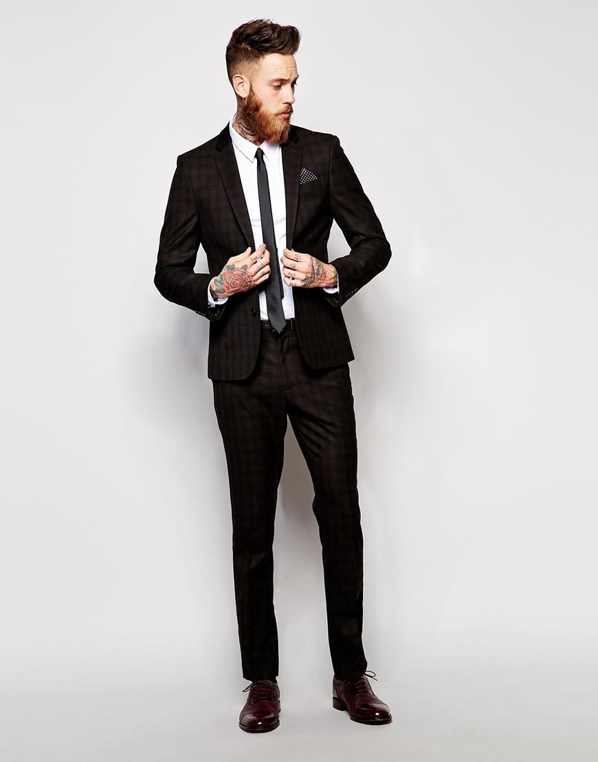 Asos Slim Fit Suit Pants In Plaid Check in Brown for Men | Lyst