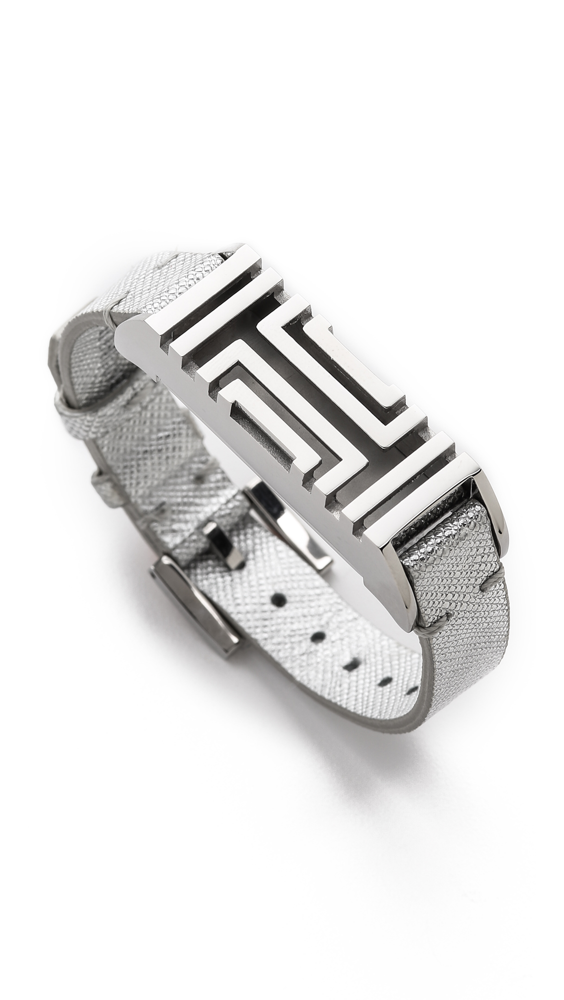 Tory Burch For Fitbit Leather Bracelet Tory Silver In